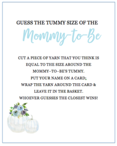 Guess the Tummy Size Baby Shower Game
