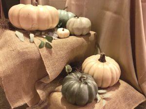 fall themed baby shower pumpkin display