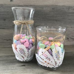DIY candy heart vase