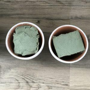 dry floral foam in pots