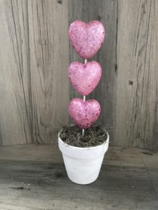 pink heart topiary